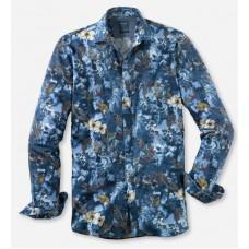 Рубашка мужская Olymp Casual 40034418, Modern fit, хлопковая синяя с цветочным принтом