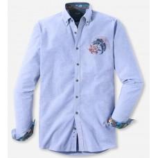 Рубашка мужская Olymp Casual 40046418, Modern fit, хлопковая голубая