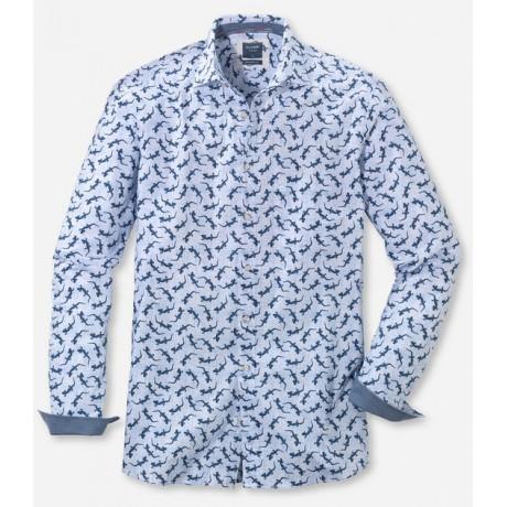 Рубашка мужская Olymp Casual 40075400, Modern fit, хлопковая голубая с принтом