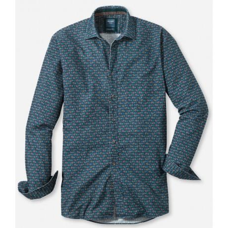 Рубашка мужская Olymp Casual 40506445, Modern fit, вельветовая зеленая с принтом