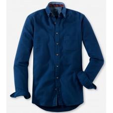 Рубашка мужская Olymp Casual 40606418, Modern fit, хлопковая синяя, структура ткани в ёлочку