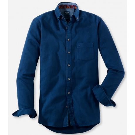 Рубашка мужская Olymp Casual 40606418, Modern fit, хлопковая синяя в ёлочку