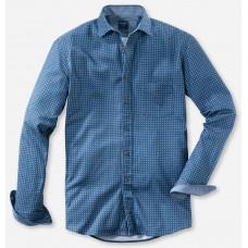 Рубашка мужская Olymp Casual 40626418, Modern fit, хлопковая синяя с принтом