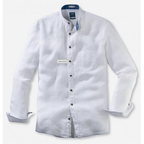 Рубашка мужская Olymp Casual 40785400, Modern fit, льняная белая с воротником-стойкой
