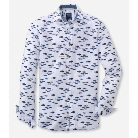Рубашка мужская Olymp Casual 40805400, Modern fit, льняная белая с принтом рыбки