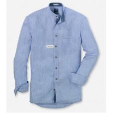 Рубашка мужская Olymp Casual 40945415, Modern fit, льняная голубая в полоску, с воротником-стойкой