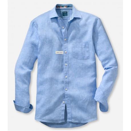 Рубашка мужская Olymp Casual 41187410, Modern fit, льняная голубая