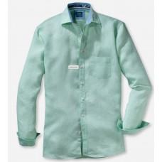 Рубашка мужская Olymp Casual 41187446, Modern fit, льняная светло-зеленая
