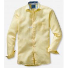 Рубашка мужская Olymp Casual 41187450, Modern fit, льняная желтая