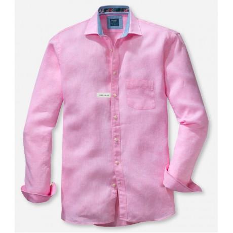 Рубашка мужская Olymp Casual 41187471, Modern fit, льняная розовая