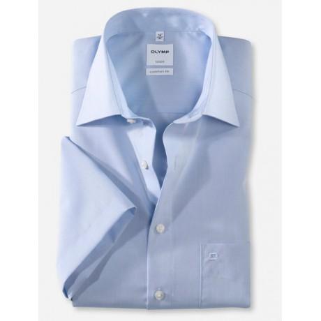 Рубашка мужская Olymp 51311211, Comfort fit с коротким рукавом,голубая гладкая