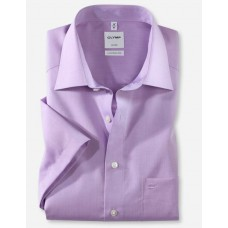 Рубашка мужская OLYMP Luxor Comfort fit, артикул 51311271 с коротким рукавом, фиолетовая гладкая
