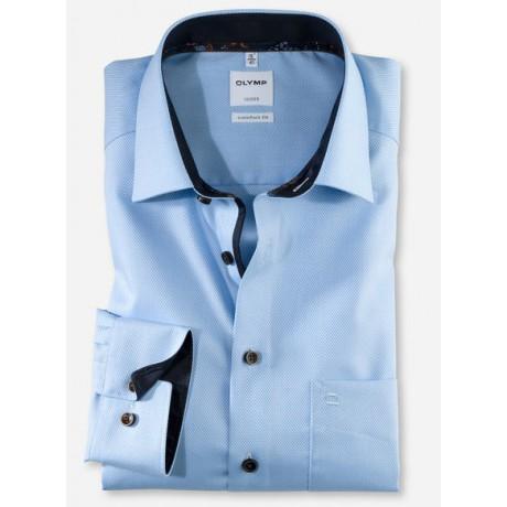 Рубашка мужская Olymp 10044411, Comfort fit, голубая фактурная