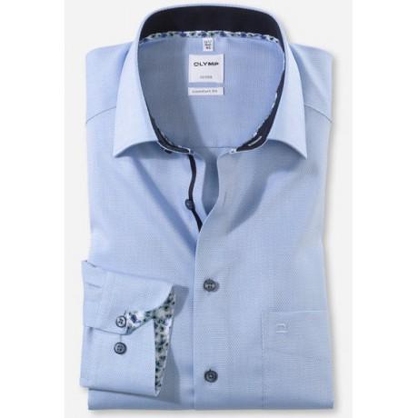 Рубашка мужская Olymp 10085411, Comfort fit, голубая фактурная