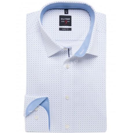Рубашка мужская Olymp 20561411, Level Five body fit, белая в точку