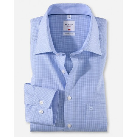 Рубашка мужская Olymp 31906411, Comfort fit, голубая в мелкую клеточку
