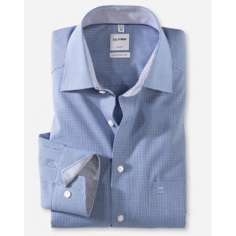Рубашка мужская Olymp 31906419, Comfort fit, синяя в мелкую клеточку